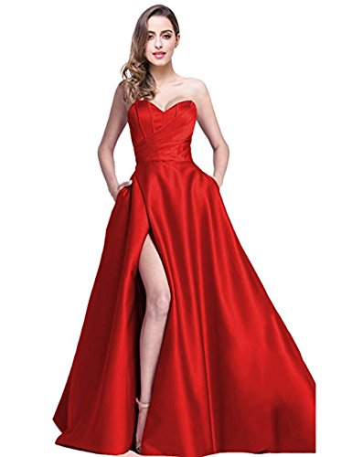 heart Prom Dresses Long 2019 High Slit Strapless A-Line Formal Evening Ball Gowns with Pockets ()
