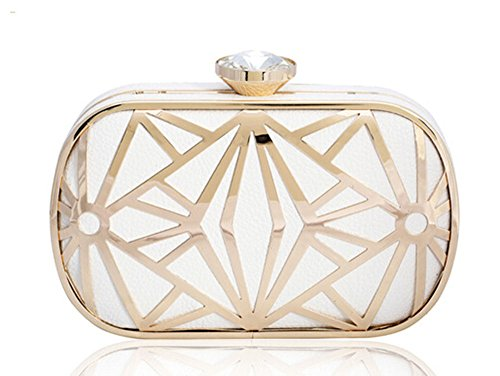 KISS GOLD(TM) Exquisite Leather Metal Hollow Designer Clutch Bag Evening Handbags (White)