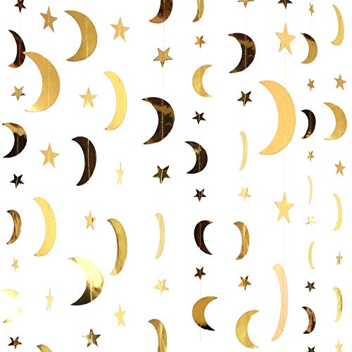 Stars Moon Decorations (Patelai 130 Feet Golden Glitter Star Paper Garland Hanging Decoration for Wedding Birthday Christmas Festival Party (Gold, Moon and Star))