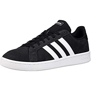 adidas mens Grand Court Tennis Shoe, Black/White/White, 12 US