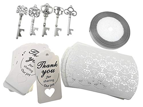 Kinteshun Wedding Party Favor Set,Skeleton Key Bottle Openers Candy Boxes Escort Tags and Ribbon Souvenir Gift Set Silver Tone,50 sets with 5 Styles
