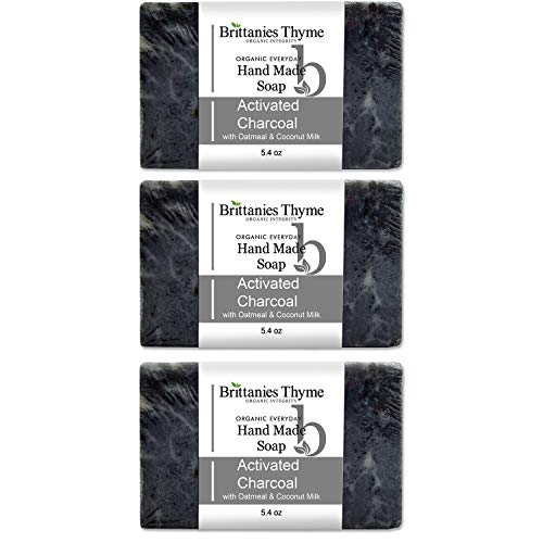 Brittanie's Thyme Charcoal Certified Organic Bar Soap, 3 Pack | Luxurious Formula Made with Natural Organic Ingredients
