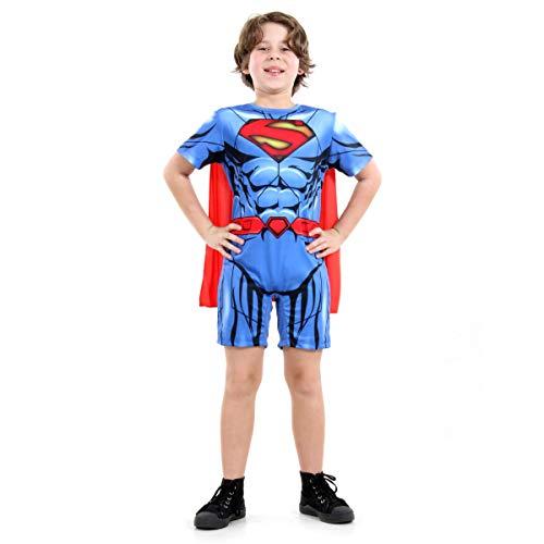 Super Homem Curto Dc Infantil Sulamericana Fantasias Azul/Vermelho G 10/12 Anos