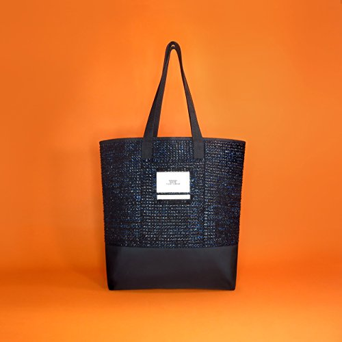 Boucle shiny black & blue soft tweed tote bag/Made in France