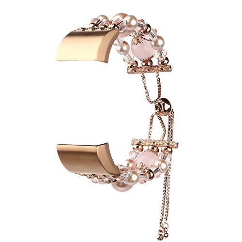 Beaded Flex Bracelet - HighlifeS Fashion Sports Telescopic Chain Beaded Bracelet Strap Band for Fitbit Charge 2 (Pink)