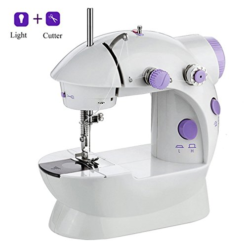 Portable Sewing Machine, Mini Crafting Mending Machine 2-Speed Double Thread, Double Speed with Foot Pedal, Light and Cutter for Household Travel Beginner