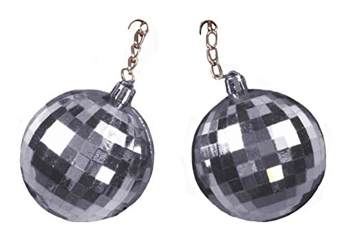 1970s Mini (Mini Silver 70's Disco Ball Clip On Earrings)