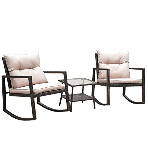 (Hq Outdoor Rocking Rattan Bistro Set: 3-Piece Wicker Furniture - Two Chairs with Glass Coffee Table (Brown Cushion))
