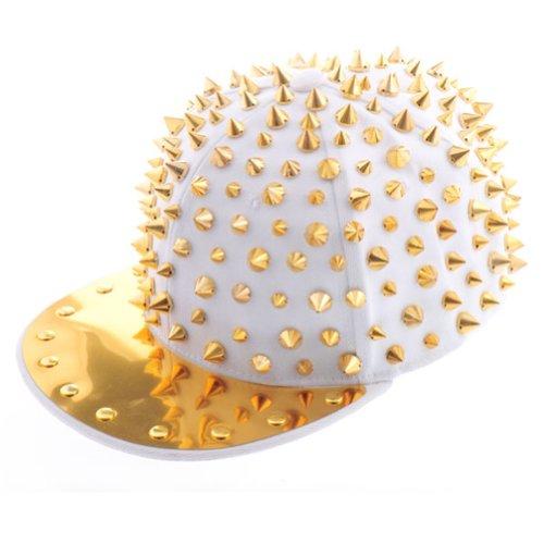 OFTEN Hedgehog Punk Studded Baseball Hip-hop Hat Spike Rivet Spiky Stud Cap,White/Gold,Free (White Spike)