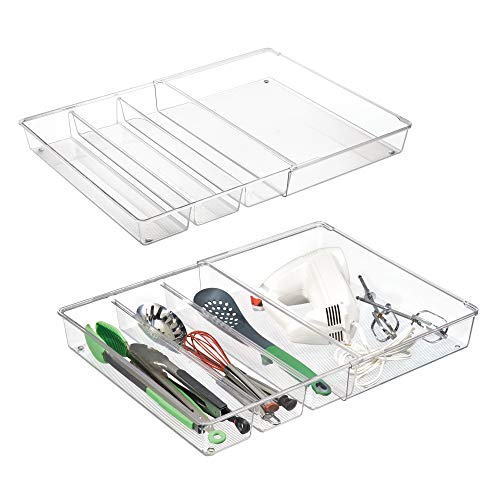 mDesign Adjustable, Expandable 4 Compartment Kitchen Cabinet Drawer Organizer Tray - Divided Sections for Cutlery, Serving, Cooking Utensils, Gadgets - BPA Free, Food Safe, 3 Deep, Pack of 2, Clear