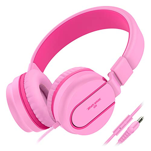 Besom i36 Pink Headphones for Kids with Mic Control,Stereo Adjustable Foldable Headset, Tangle-Free Cord,3.5mm Audio Jack Wired On-Ear Headphones for Children,Teens,Girls,Boys,Adults (Pink Red)