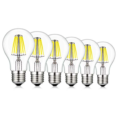 CREATE BRIGHT A19 LED Vintage Filament Bulb,6W(60W Incandescent Equivalent), Dimmable Edison Globe Bulbs,E26 Base,520lm,6400K Daylight,360°Beam Angle,ETL Listed,Pack of 6 -
