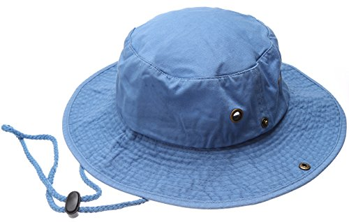 Summer Outdoor Boonie Hunting Fishing Safari Bucket Sun Hat with Adjustable Strap(Sky Blue,LXL) ()
