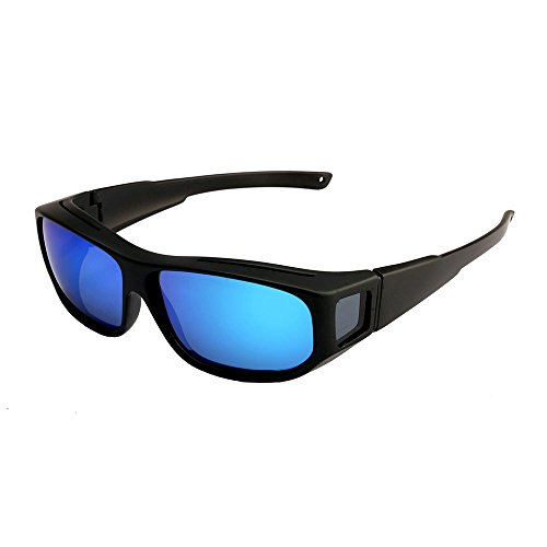 Oversized Lens Cover Sunglasses Mirrored - Warp Around Polarized Lens for Men - Fitover Mirrored Sunglasses