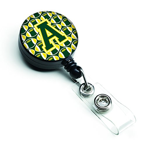 Caroline's Treasures CJ1075-ABR Letter A Football Green & Yellow Retractable Badge Reel, Multicolor