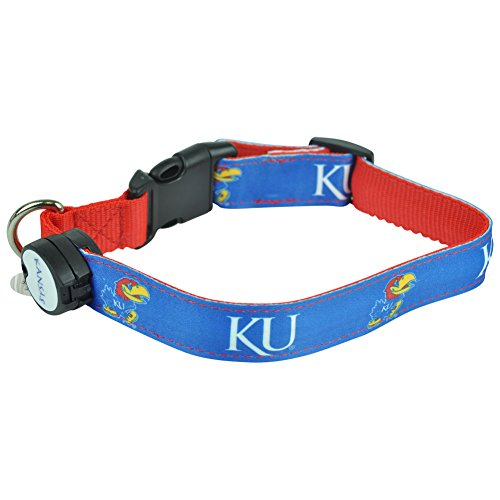 Dog-E-Glow Kansas Jayhawks Lighted LED Dog Collar, Large, 15-Inch by 21-Inch ()