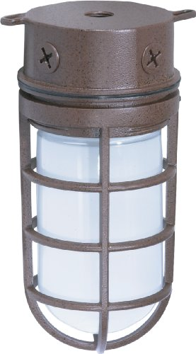 Nuvo Lighting SF76/625 Industrial Style Small Heavy Duty Aluminum Durable Outdoor Close to Ceiling Porch and Patio Light with Frosted Glass, Old Bronze Small Outdoor Lighting