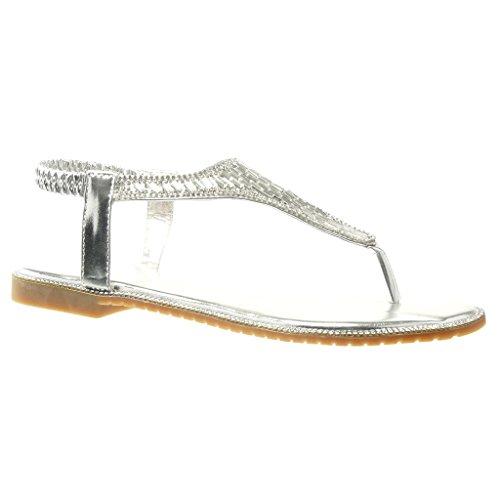 Angkorly - Chaussure Mode Sandale Tong salomés femme bijoux strass diamant Talon bloc 1 CM - Argent