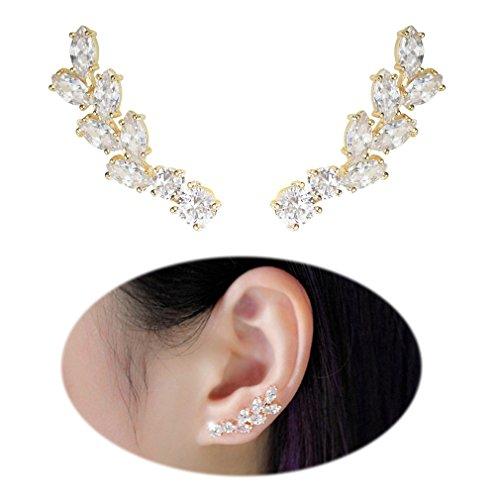 Earrings Gold Angel (Ear Crawler Earrings Climbers Leaf Feather Angel Wing Ear Cuff Pin Vine Wrap CZ Crystal Rhinestone Studs Rose gold)
