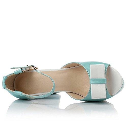 Amoonyfashion Kvinna Kick-häl Mjuka Material Blandade Färger Spänne Peep Sandaletter Blå