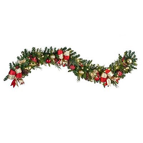 Holiday Cheer Outdoor Lighted 9 Foot Christmas Garland Greenery Porch Door Decor by Good concept