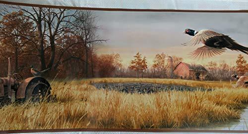 (Pheasants Tractor Farm Scene Wallpaper Border -)