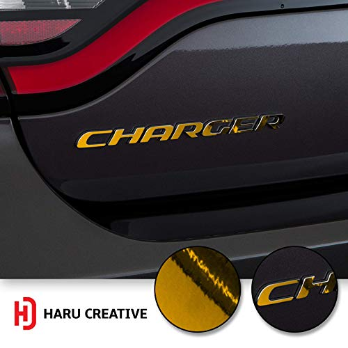 Haru Creative - Rear Bumper Trunk Emblem Overlay Vinyl Car Decal Sticker Compatible with and Fits Dodge Charger 2015 2016 2017 2018 2019 - Chrome Gold ()