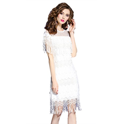 Women`S A Casual Dress Dresses cotyledon Fit Line Hollow Slim White Out BUn1q