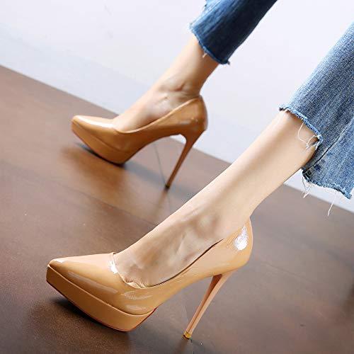FLYRCX Einfache europäische Lackleder Lackleder Lackleder High Heels Frühling und Herbst Spitze Stiletto Schuhe Party Schuhe 4d93f1