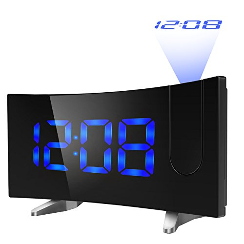 Projection Alarm Clocks, Pictek Digital Clock Radio with USB for Kids, 5 inch Curved LED Screen FM Projection Clock with Dual Alarms, 12/24 Hour, Battery Backup