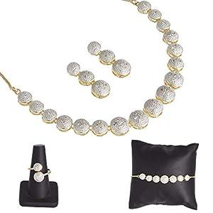 VintFlea Indian Fashion Bollywood Designer Splendid Ring Bracelet & Necklace Set for Women/Girls