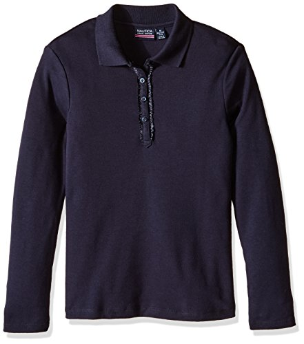 Nautica Little Girls' Uniform Long Sleeve Polo with Ruffle Placket, Navy, Medium ()