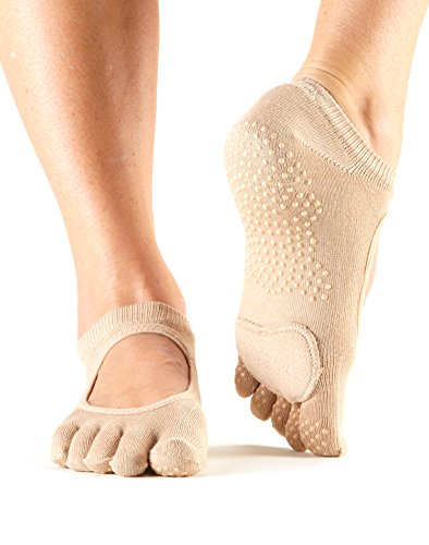 Price comparison product image ToeSox Women's Plie Full Toe Grip for Yoga,  Pilates,  Barre,  Dance,  Toe Socks With LEATHER PAD (Nude) Small