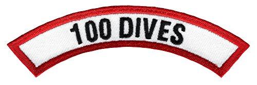100 Dives Chevron Patch Embroidered Iron On Scuba Diving Emblem Souvenir