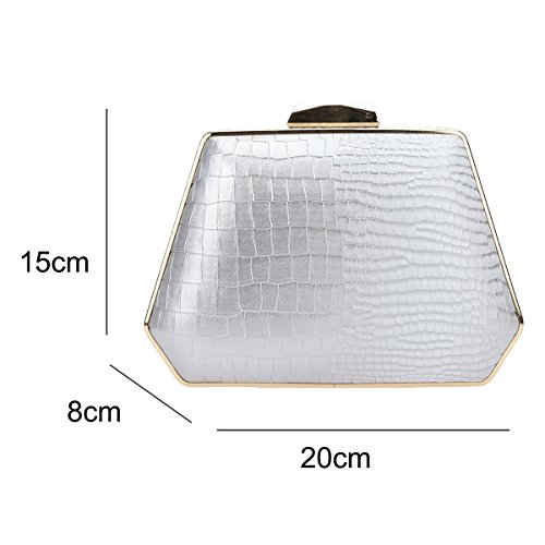 Evening for Bonjanvye Gray Women Snake Purse Box Pattern Handbag Clutch Bags fcWq7FqR