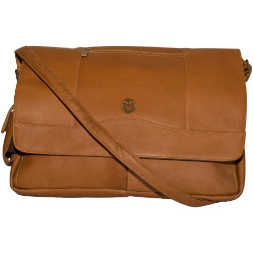 NCAA Colorado State Rams Tan Leather Laptop Messenger Bag by Pangea Brands