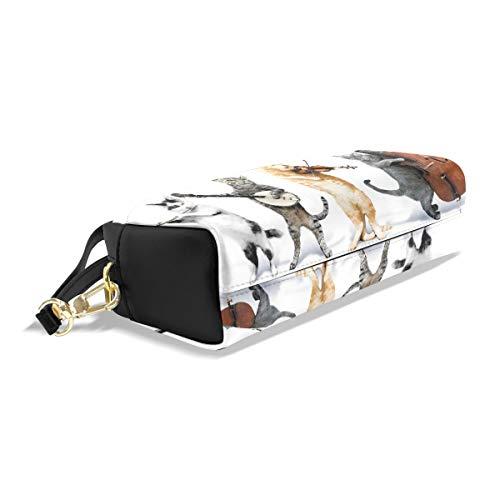 In Mini Borsa Pu Organizer Bag Donne Leatehr Capacità Gatti Portapenne Matita Strumento Di Musica Impermeabile Violion Studenti Box Play Pelle Makeup Sacchetto Mano Grande 8Z41v6