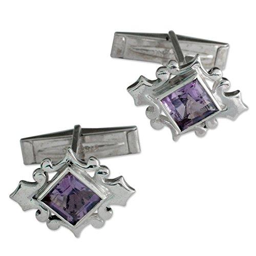 - NOVICA Amethyst .925 Sterling Silver Men's Cufflink, Orchid'