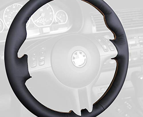 (RedlineGoods steering wheel cover (3-spoke) compatible with BMW 3-series E46 1999-04. Black leather-Black thread)