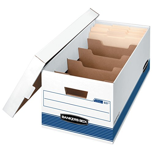 Bankers Box DIVIDERBOX Medium-Duty Storage Boxes with Dividers, FastFold, Lift-Off Lid, Letter, Case of 12 ()