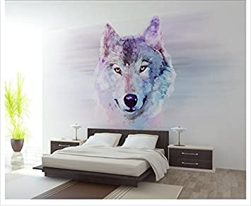 Weaeo 3D Fototapete Benutzerdefinierte Hd Zimmer Wandbild Wolf Kopf 3D Foto  Hd Malerei Sofa Tv Hintergrund