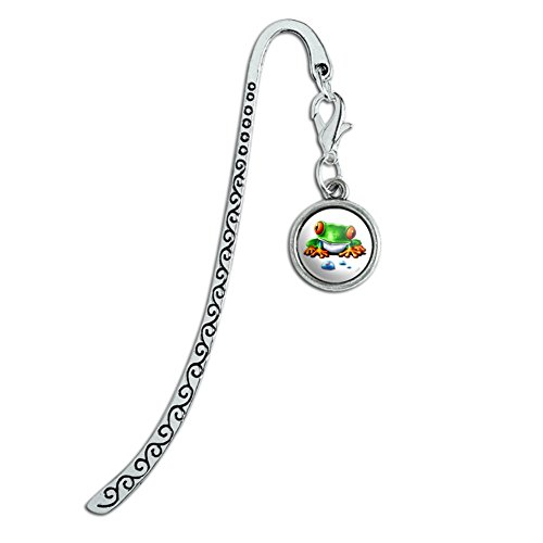 Rainforest Red Eyed Tree Frog and Ant Metal Bookmark Page Marker with Charm