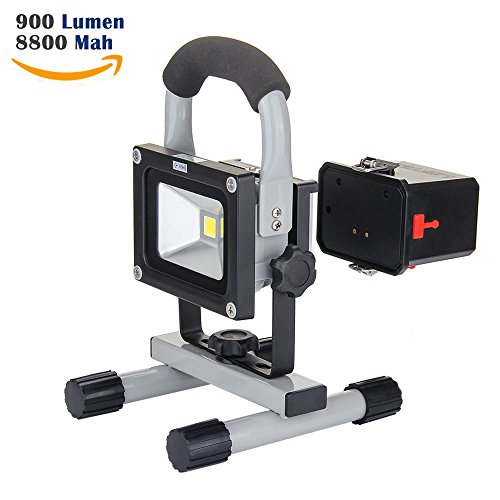 LOFTEK10W LED Work Light,Rechargeable&Portable, 900lm, 8800mAh Detachable Battery,adapter and Car Charger Included, Waterproof, Outdoor Floodlight (Battery Powered Led Work Lights compare prices)