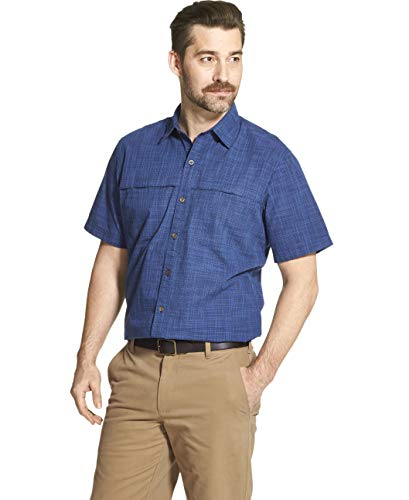 Arrow 1851 Men's Big and Tall Crosshatch Short Sleeve Button Down Solid Shirt, Navy Blazer, 2X-Large