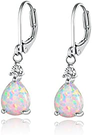 GEMSME Opal and Cubic Zirconia Pear Dangle Earrings White Gold Plated 7x9mm