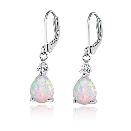 Created Opal Dangle Earrings - GEMSME White Gold Plated Teardrop Opal Dangle Earrings For Women(platinum-plated)