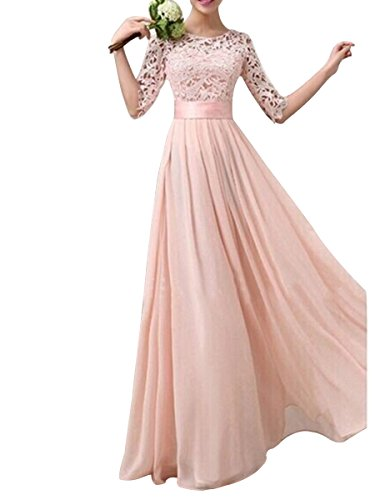 Evaliana Women Crochet Lace Wedding Bridesmaid Formal Gown Prom Party Maxi (Peach Bridesmaids Formal Gown)