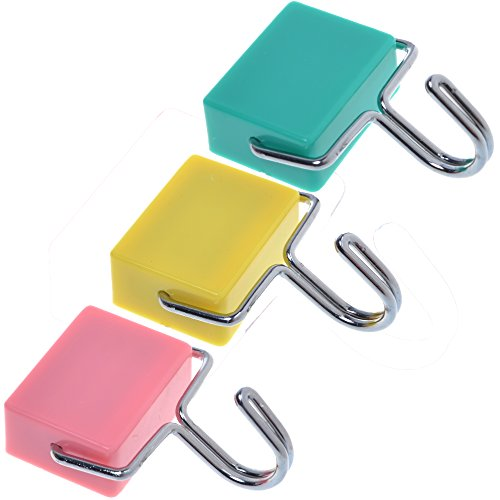 Cosmos ® Pack of 3 Assorted Colors Rectangular Super Strong Magnetic Hooks