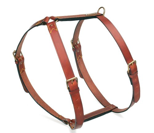 Petego La Cinopelca Classic Leather Adjustable Dog Harness, Medium, Brown by Petego