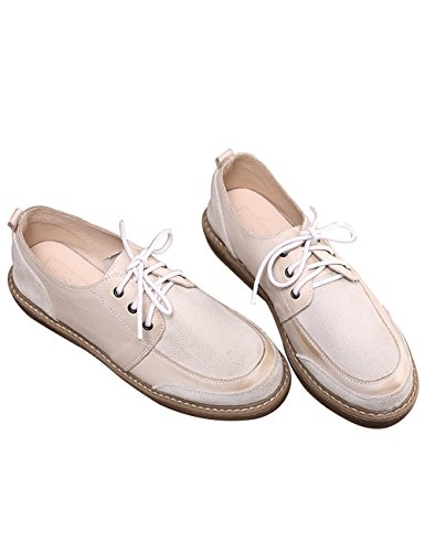 Shoes Lace up Stitching White Shoes Suede Zoulee Leather Women's Flats New qYzaO1